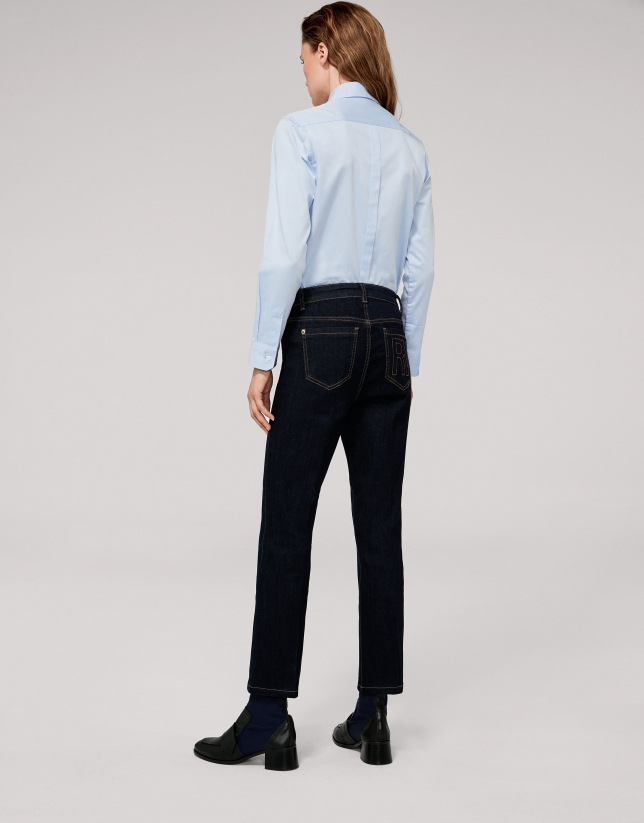 Blue, straight, angle-length jeans