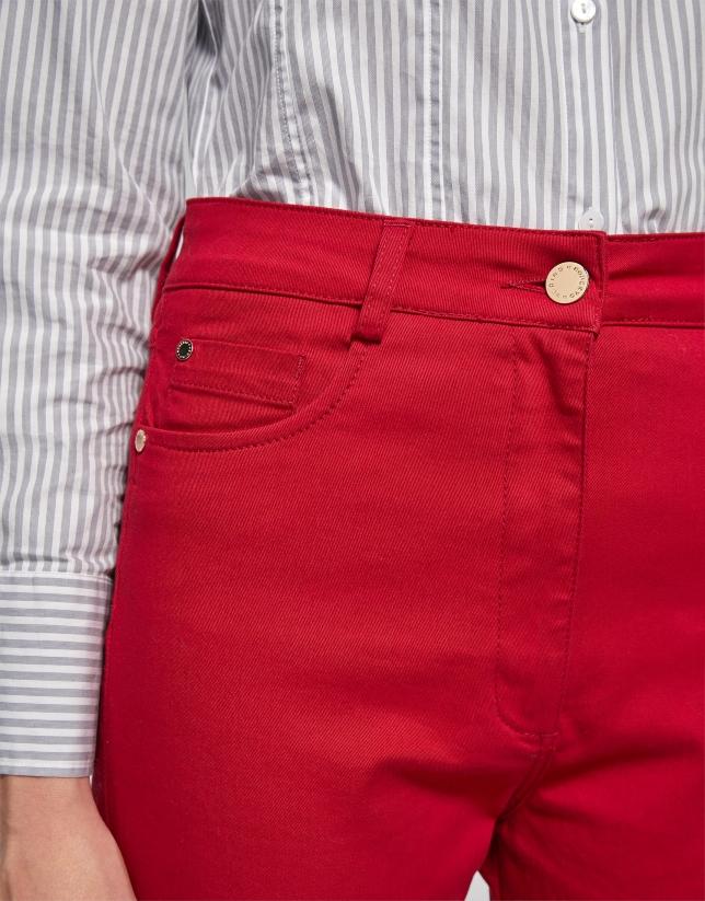 Pantalon en coton satiné rouge