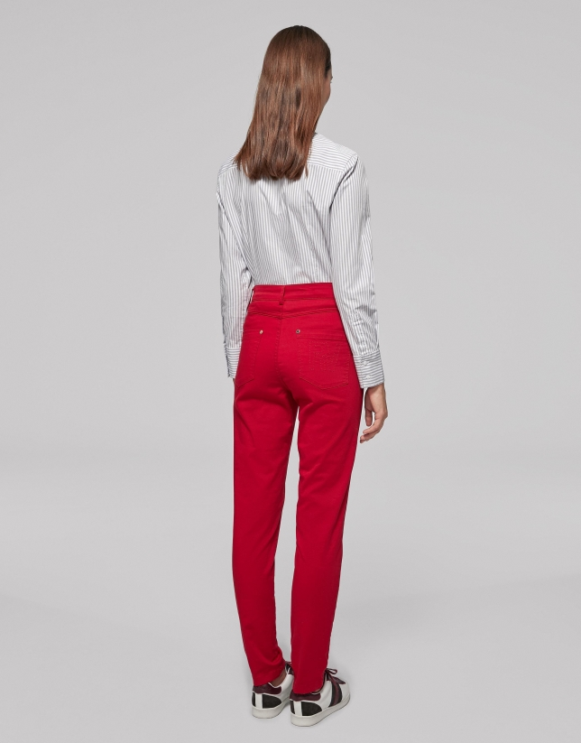 Red satiny cotton pants