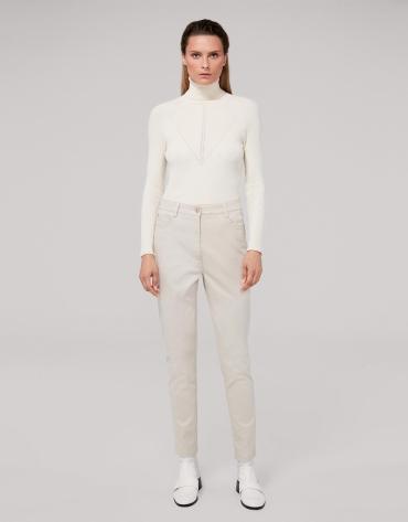 Pantalon en coton satiné couleur ivoire