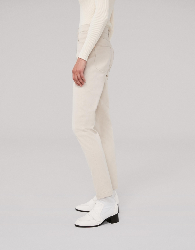Ivory satiny cotton pants