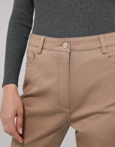 Mink-colored satiny cotton pants