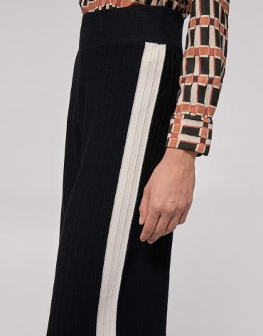 Black knit palazzo pants