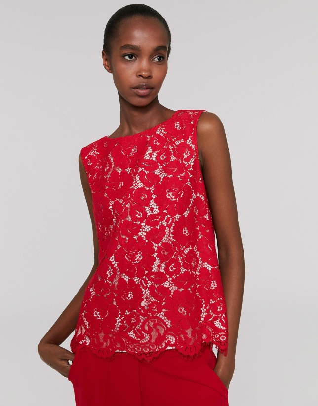 Red poppy lace top