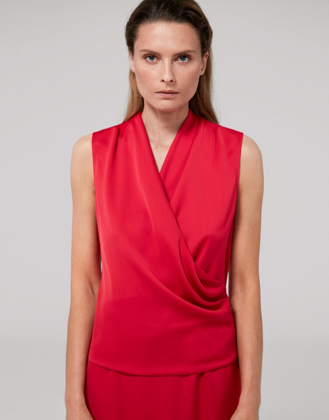 Red poppy, sleeveless, crossover top