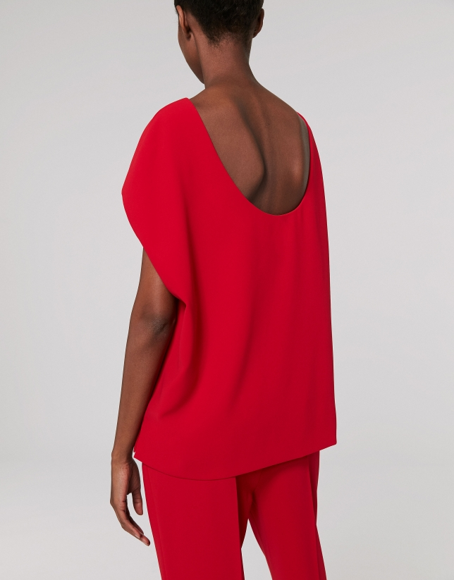 Red poppy top with low back
