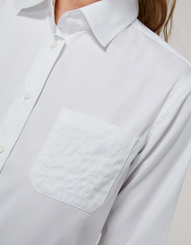 White men's shirt with pocket