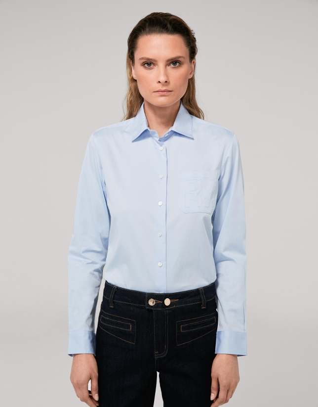 Light blue men's shirt with pocket