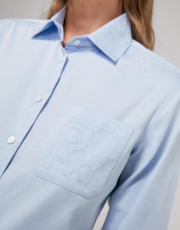 Camisa masculina celeste con bolsillo