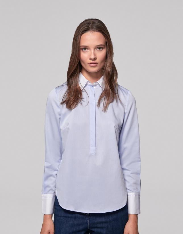 Camisa algodón azul cielo y blanco contrastado