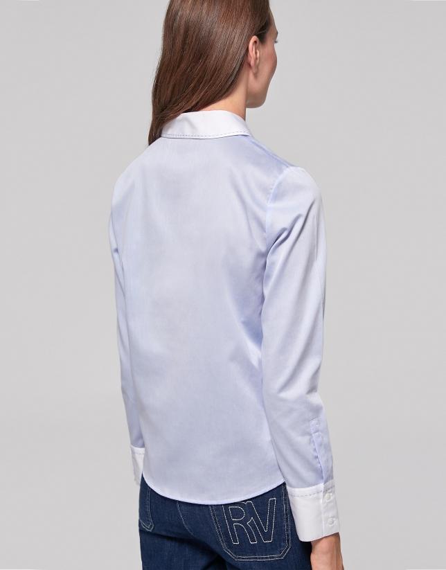 Light blue and white cotton shirt