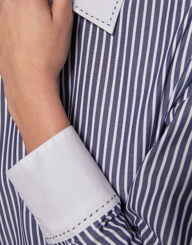 Blue and white striped cotton shirt