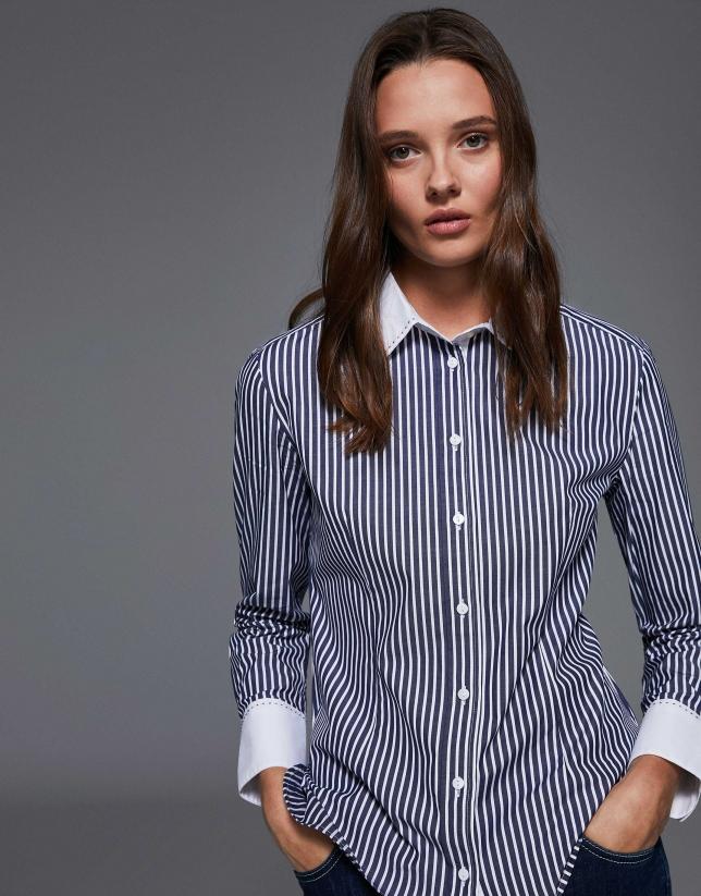 Camisa algodón rayas azul y blanco contrastado