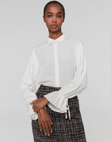 Camisa manga plisada marfil