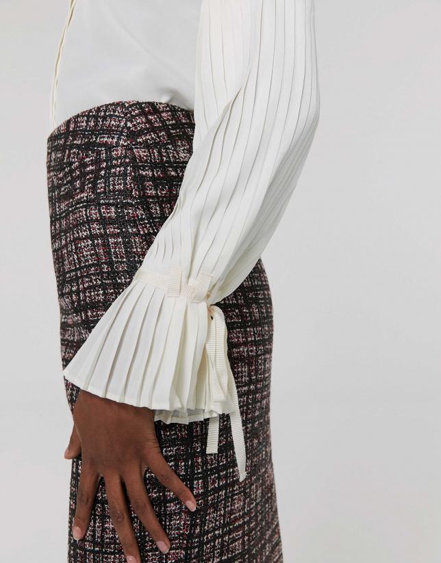 Chemise ivoire à manches plissées