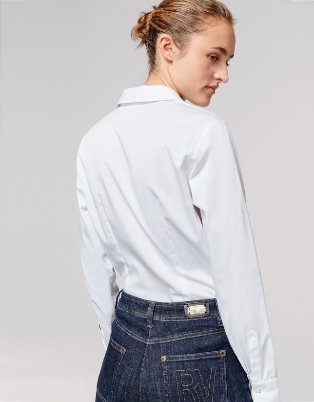 White men's shirt with decorative flap