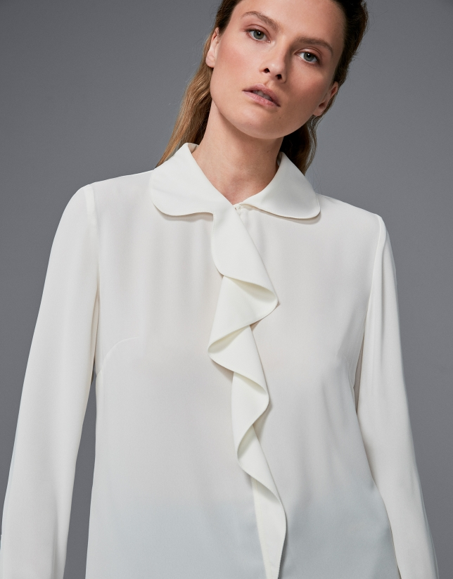Ivory shirt with ruffles
