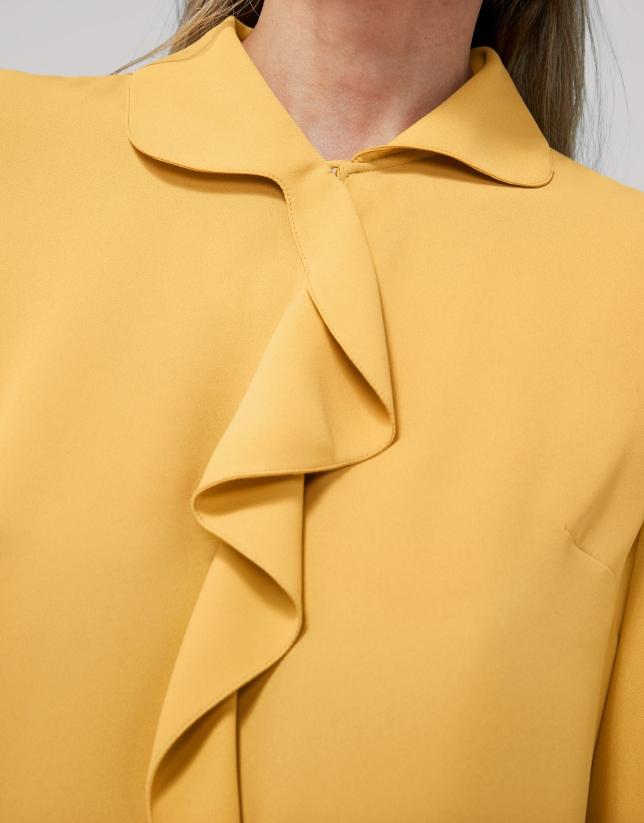 Gold shirt with ruffles