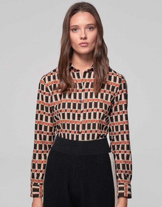 Camisa masculina estampado geométrico