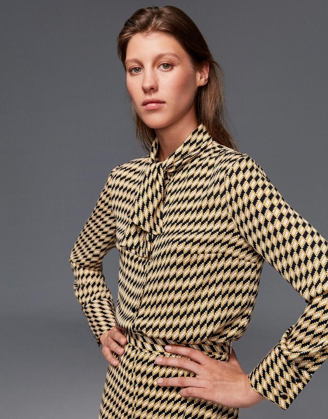 Chemise à imprimé géométrique doré et noir