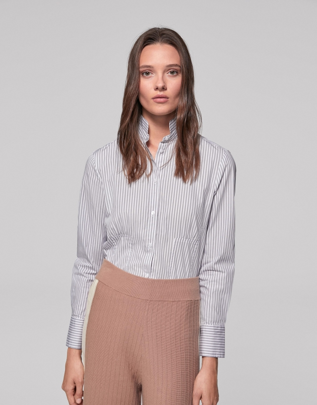 Chemise col Mao à rayures couleur argent