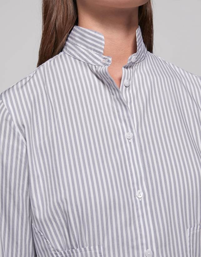 Silver striped shirt with Mao collar