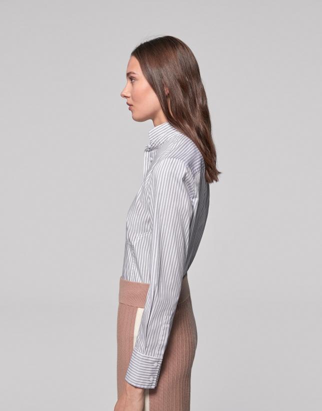 Camisa cuello mao rayas plata