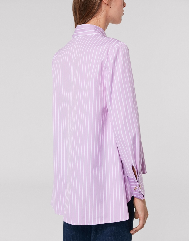 Pink stripes shirt with Mao collar and slit