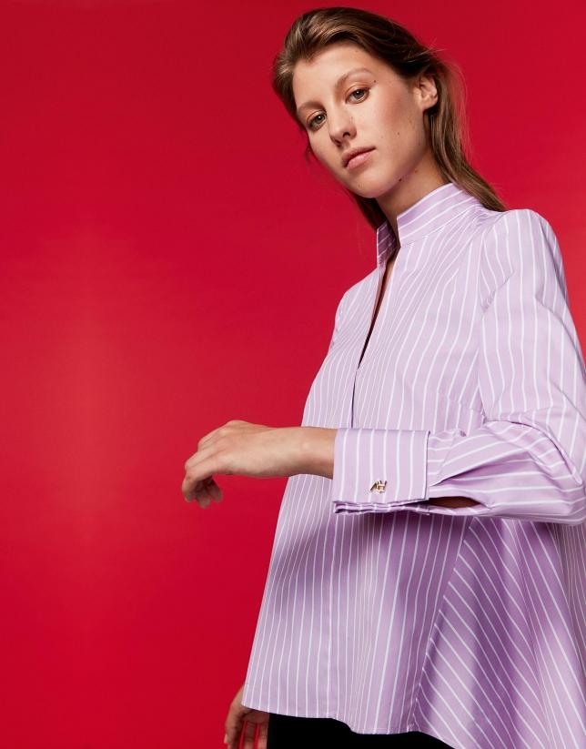 Camisa rayas rosa cuello mao con abertura