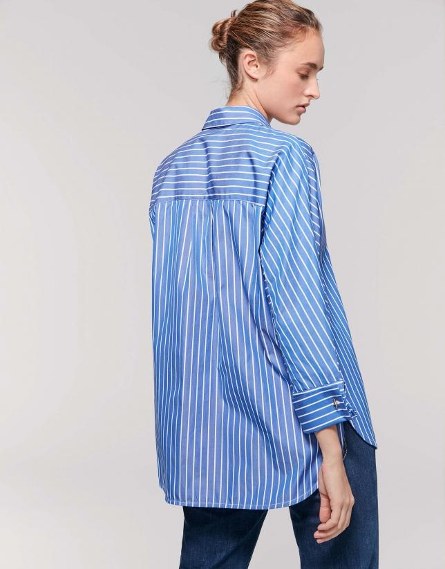 Chemise à manches trois-quarts rayures, couleur bleu cyan