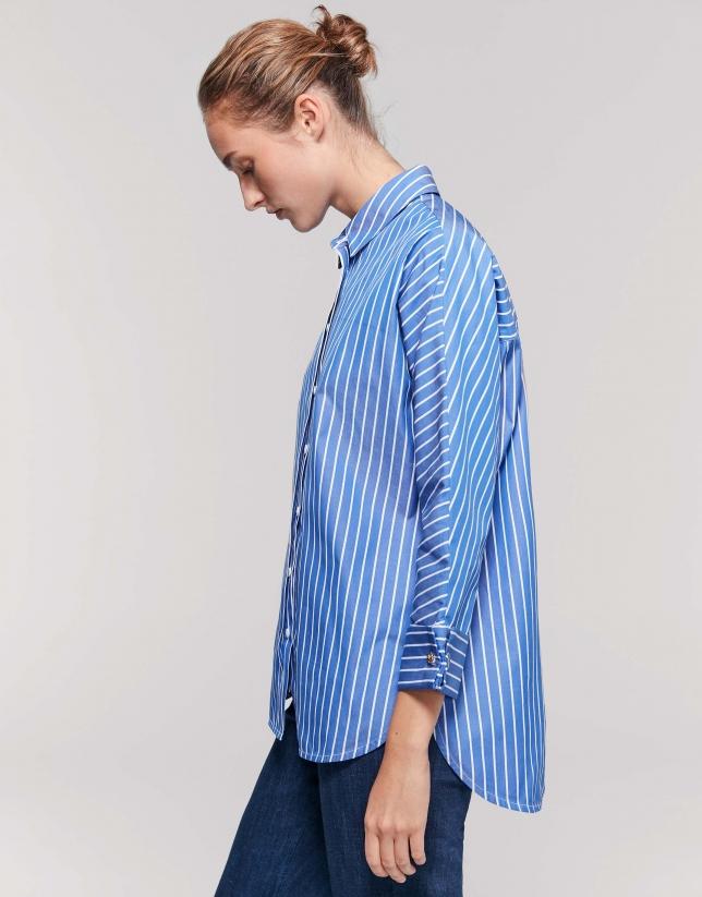 Camisa manga tres cuartos rayas azul tinta