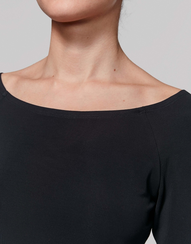 Black top with boat neckline