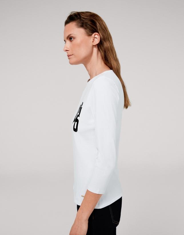 Camiseta blanca VERINO bordado negro