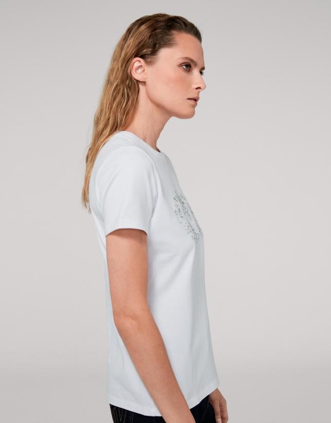 T-shirt blanc logo RV en paillettes