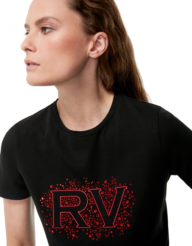 Camiseta negra RV strass rojo