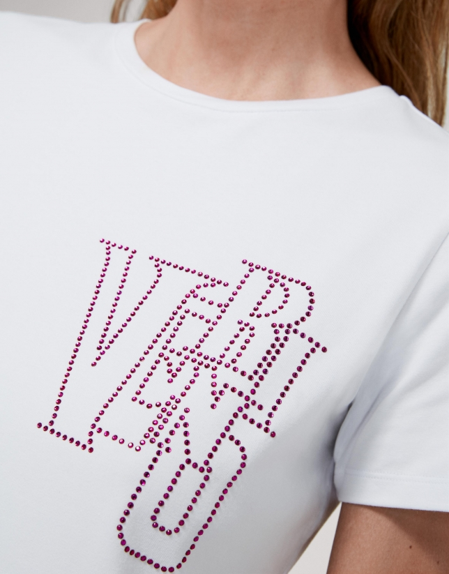 White top with pink strass VERINO logo