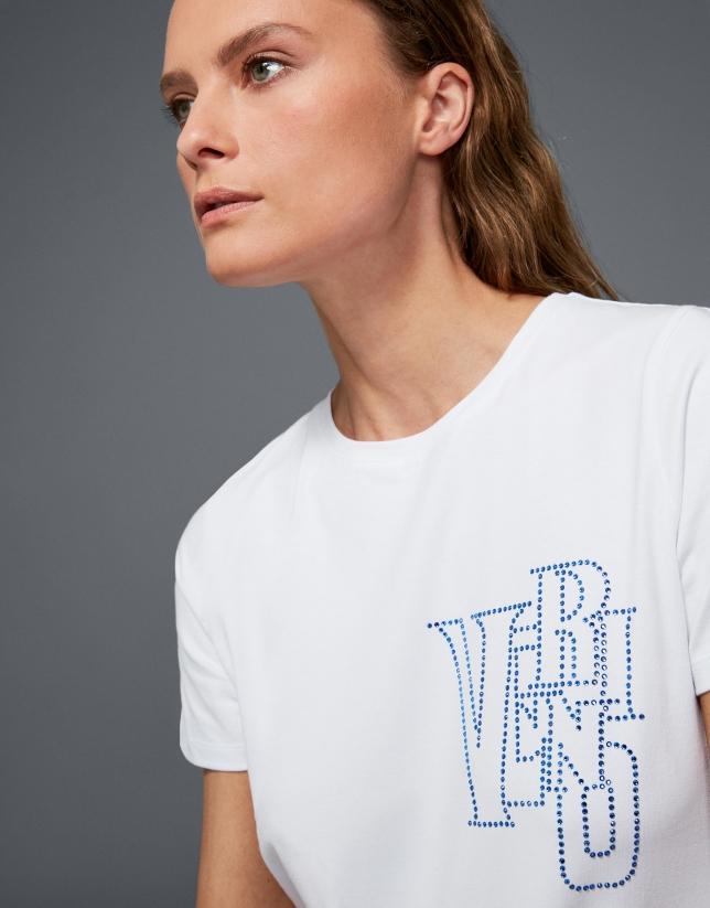Camiseta blanca VERINO strass azul