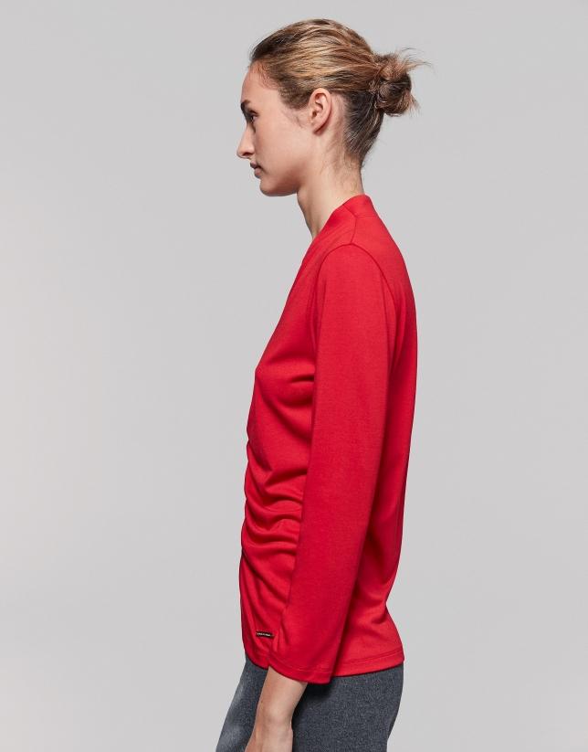 Camiseta frunces delantero roja