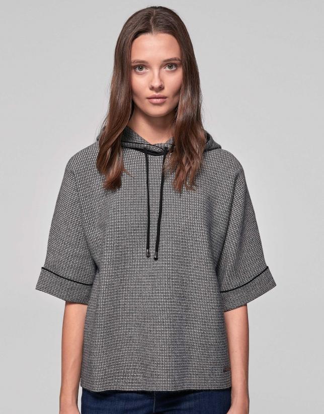 Sweatshirt à jacquard pied de poule noir