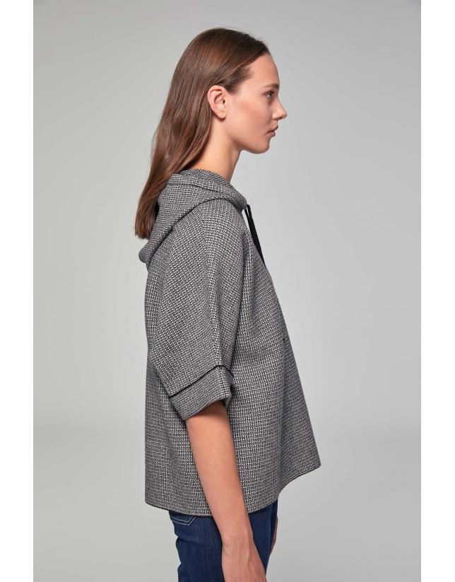 Black houndstooth jacquard, hooded sweatshirt