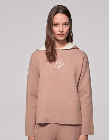 Beige two-faced knit sweatshirt