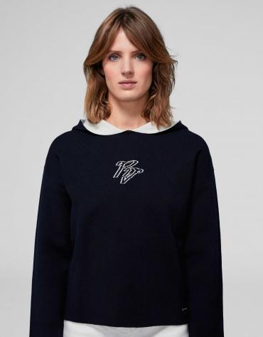 Sweat-shirt en maille double face belu marine