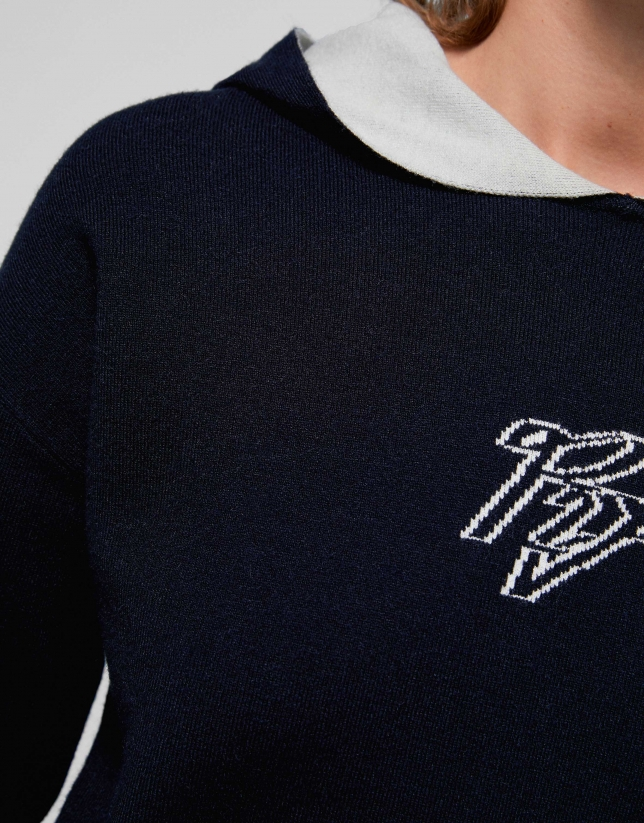 Navy blue two-faced knit sweatshirt