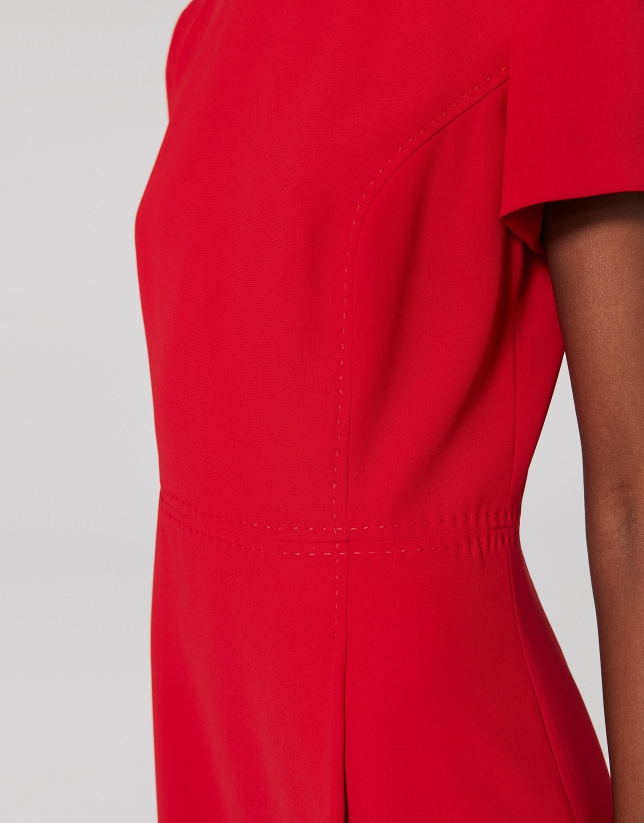 Midi red poppy dress with front pleat