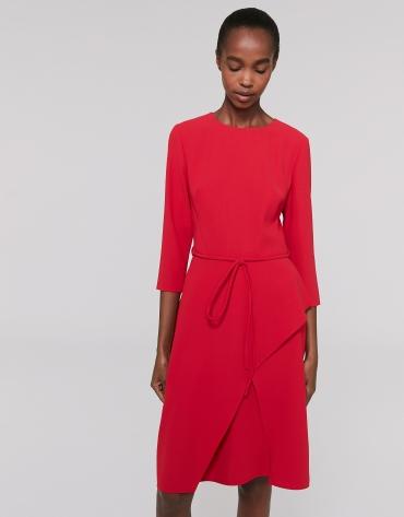 Midi red poppy dress with three quarter sleeves