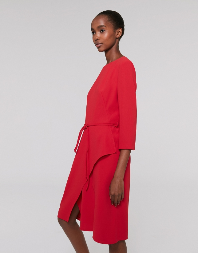 Midi red poppy dress with three quarter sleeves