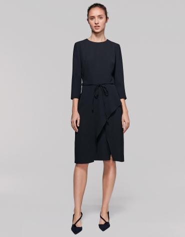 Black midi dress with three-quarter sleeves