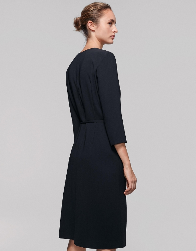 Black midi dress with three-quarter sleeves