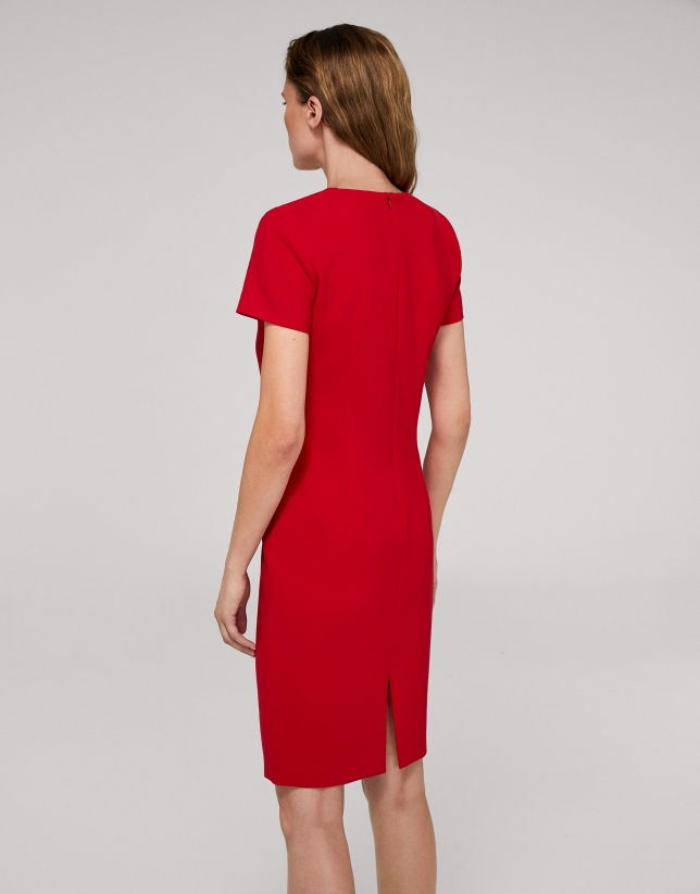 Red poppy midi dress with chest pockets