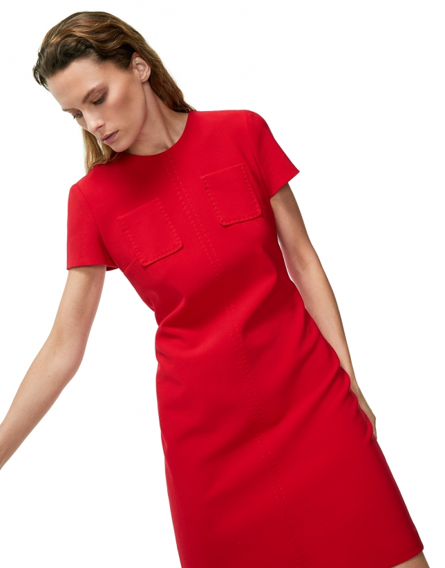 Red poppy midi dress with chest pockets